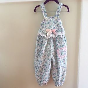 🆕 Vintage Floral Corduroy Overalls with Bow 3T